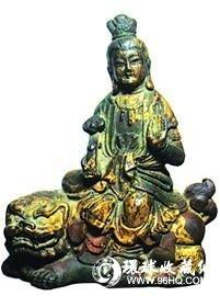 铜鎏金文殊菩萨造像