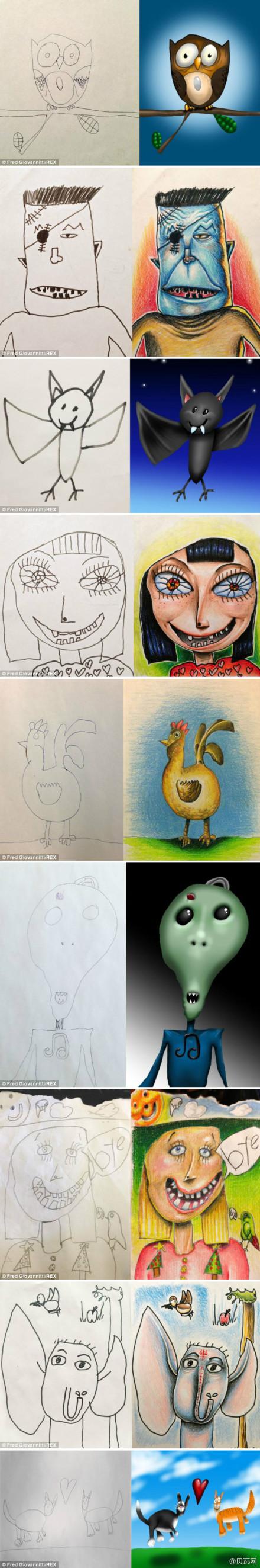父亲将孩子简笔画上色描绘成精美插图