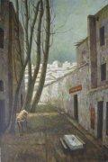 邢晓林油画《有牛,餐桌的巷子》