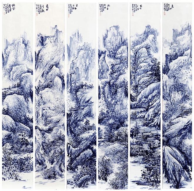 杨金瑞 (青花瓷 山水画六条屏)作品
