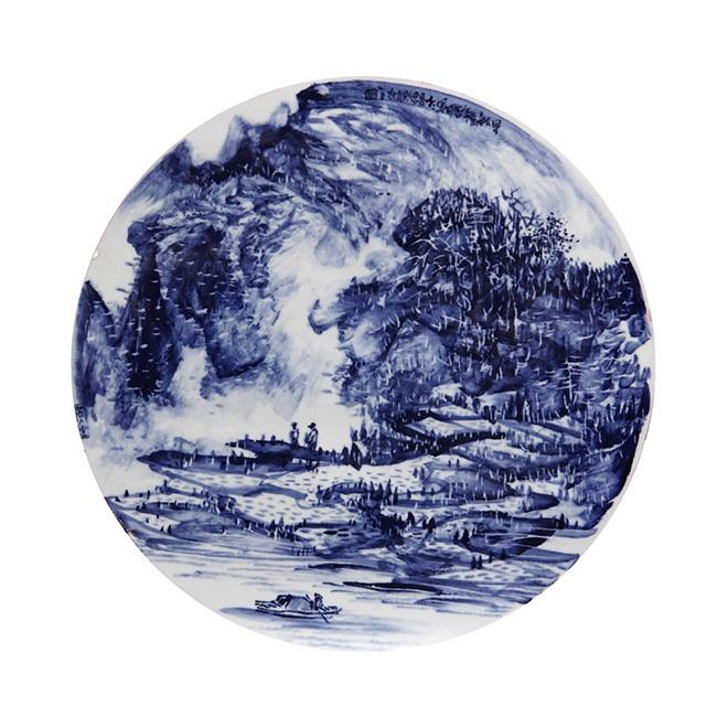 杨金瑞 (青花瓷板画 山水)拍卖作品